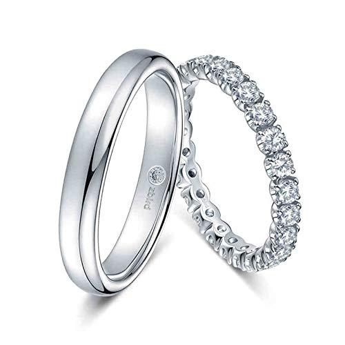 KnSam Anillo Oro Blanco de 18K, Pulido Puntadas Anillos de Aplicación con Diamante Blanco 0.108ct, Mujer Talla 10 y Hombre Talla 30 (Precio por 2 Anillos)