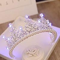ティアラクラウン女性のためのブライダル発光クラウン誕生日パーティー髪の装飾結婚式ライト花嫁クイーンクラウンクリスマスガールヘア126ブルーライト
