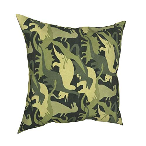 XChicShop 16x16 Pillow Covers Set of 4 Camouflage Army Dinosaur Green Throw Pillow Covers Decorative Couch Pillow Cases Shams Soft Standard Zippered Square Cute Pillowcase Cushion Covers Medium