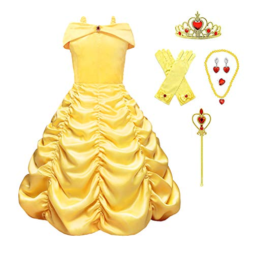 Little Girls Princess Dress Belle Costume Layered Off Shoulder Gown Party Dress (4-5 Years) Yellow