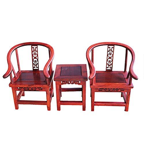 Homyl 3-TLG Miniatur Puppenhausmöbel Holz Beistelltisch und Sessel Stühle Set für 1:6 Action Figuren Zubehör