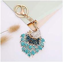 Pauw Metalen Sleutelhanger Auto-accessoires Kleine Geschenk Legering Tas Hanger blauw