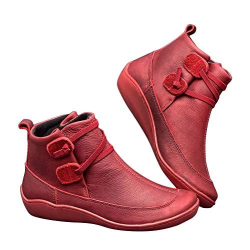 Minetom Damen Herbst Winter Schneeschuhe Flache Stiefeletten aus PU-Leder Schnürstiefel Bequeme Weiche Handgemachte Schuhe Vintage Frauen Kurze Stiefel B Rot 37 EU