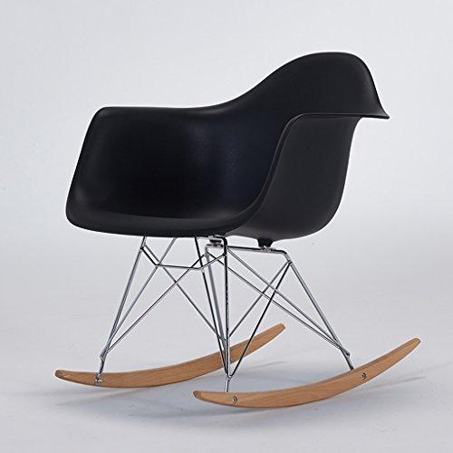 PLL balkon schommelstoel volwassen ligstoel vrije tijd stoel Eames terug schommelstoel gemakkelijk stoel Lazy stoel zwart