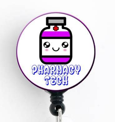 Pharmacy Tech Kawaii Pill Bottle - Retractable Badge Reel with Swivel Clip and Extra-Long 34 inch Cord - Badge Holder/Pharmacy Badge/Pharmacist/Pharmacy Tech