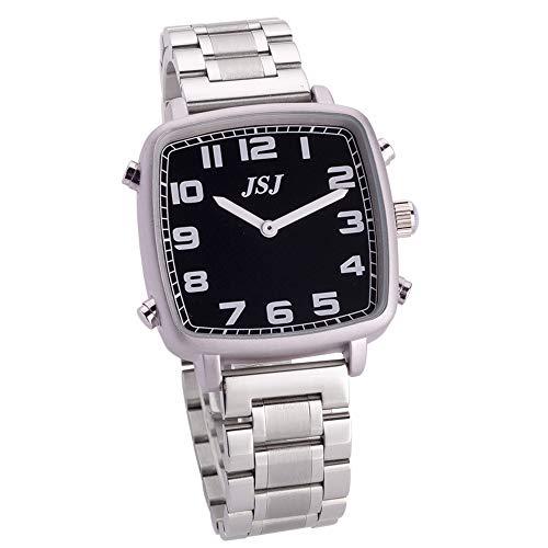 Reloj Parlante en Español, Reloj de Pulsera Cuadrado,Esfera Negro, Correa con Broche de Seguridad TSSB-1809S