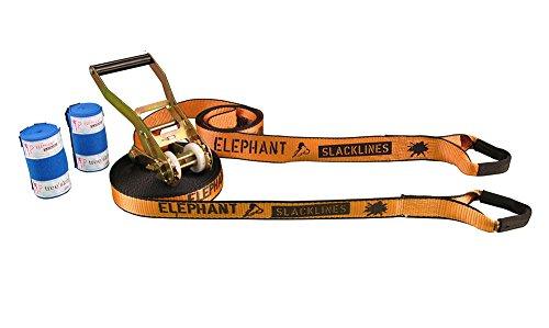 Elephant Slacklines Wing 3.5 Slackline inkl. Baumschutz, Orange, 15m, 12,5m Slacklineband + 2,5m Ratschenband, *Made in Germany*, Breite 35mm, 50 mm Standardratsche mit gestuften Spacern