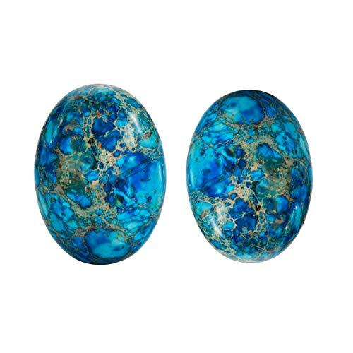 Nupuyai 2 piezas piedras preciosas cabujones plana parte trasera cabujón ovalado piedra para charms DIY joyas fabricación 18 x 25 mm