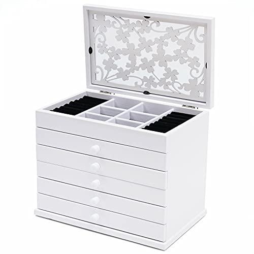 Joyero de 6 capas para joyas, tallado, madera tallada, caja de cosméticos, caja de madera tallada para anillos, pendientes, collares, organizador para niñas, color blanco