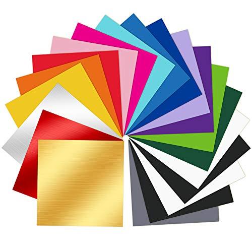 20 Pack Permanent Selbstklebende Vinylfolien 30,5 cm * 30,5 cm - 15 Farben Vinylfolie Plotter Selbstklebend, 3 Farben Gebürstetem Metall Vinyl, für Partydekoration, Kunsthandwerk, Autoaußenseite.