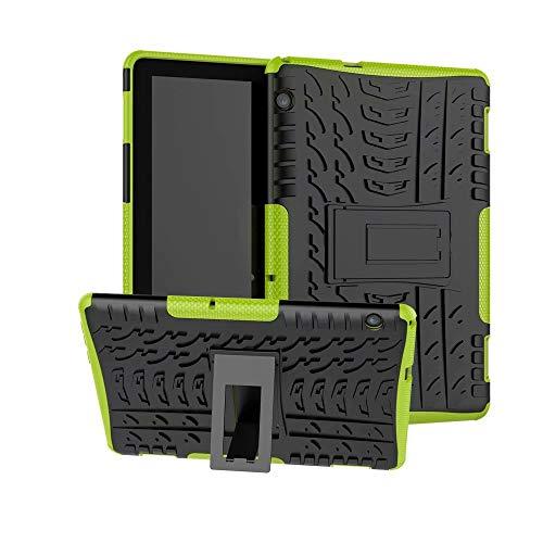 Hyun Pattern Dual Layer Hybrid Armor Kickstand 2 en 1 Funda a prueba de golpes compatible con Huawei MediaPad T5 10 10.1 pulgadas 2018 Tablet. Color : Verde