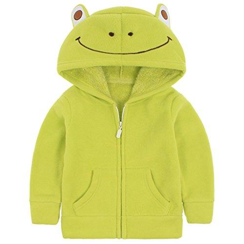 Vine Giacche in pile Bambina con Cappuccio Unisex Felpa con Cappuccio Hoodie Cappotto, Verde 24-36 Mesi