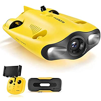Mini Underwater Drone - Underwater Drone Submarine with 4K UHD Camera for Real Time Viewing, Dive to 330ft, APP Remote Control & Remote Controller, Live Stream, Tilt-Lock Adjustable, Fish Finder, ROV by Chasing-innovation Technology Coltd