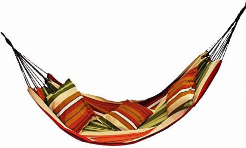Lazy Rest Hamac - Toile Coton - Double Corde renforcée - Grand modèle - Couleur Maya (Beige Orange Vert)