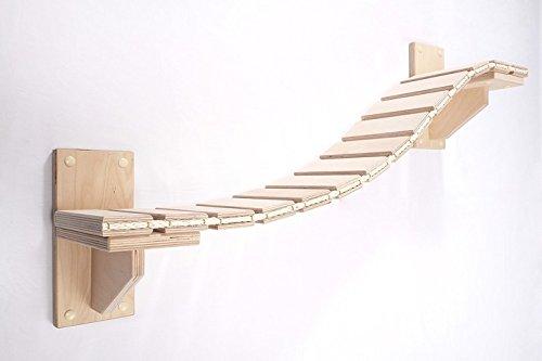 Goldtatze Wand-Set Hängebrücke Premium Holz Natur 1,5 Meter