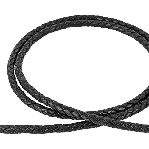 AURORIS - Lederband geflochten - Durchmesser/Farbe/Länge wählbar - Variante: Ø 6mm / schwarz / 1m
