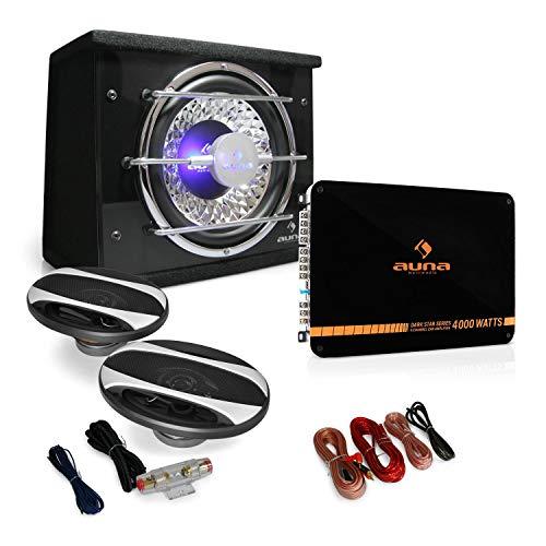 auna Car HiFi Set Platin Line 320 4-Kanal Auo Endstufe 2800W 2X 500W 16cm Einbau-Lautsprecher 1x 600W 25cm Subwoofer (inkl. Kabel-Set, Verstärker brückbar, Woofer LED-Lichteffekt)