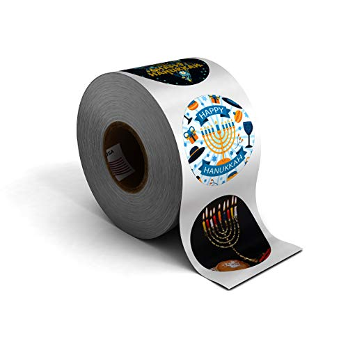Winter Holiday Christmas Stickers, 1.5' Circle Seals, 500 Labels for Packaging, Presents, and Envelope Mailing. Made in The USA! (Hanukkah, 1 ROLL)