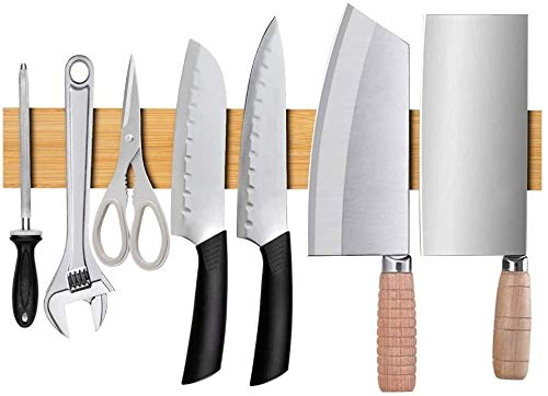 16 inches Bamboo Magnetic Knife Holder for Wall, Kitchen Utensil Hanger Knife Magnetic Strip Block, Magnet Knives Organizer, Knife Bar for Refrigerator