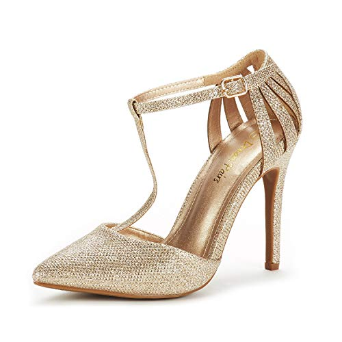 DREAM PAIRS Women's Oppointed-Mary Gold Glitter Fashion Dress High Heel Pointed Toe Wedding Pumps Shoes Size 6 M US