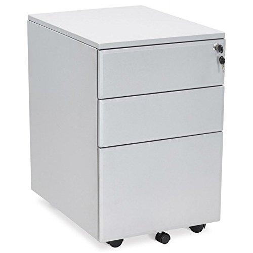 MK Caisson de Bureau Design 3 tiroirs Mathias en métal (Gris)