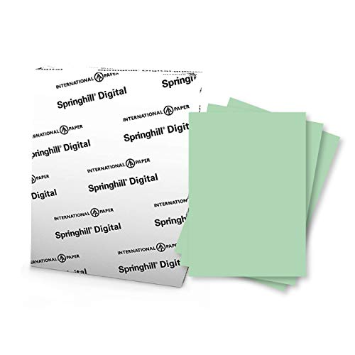 """Springhill 8.5"""" x 11"""" Green Colored Cardstock Paper, 110lb, 199gsm, 250 Sheets (1 Ream) – Premium Heavy Cardstock, Printer Paper with Smooth Finish for Cards, Flyers, Scrapbooking & More – 045300R"""