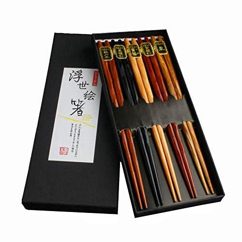 Sgohevn Ensemble de Baguettes Japonaise - 5 Paires de Baguettes en Bambou réutilisables, en Bois 23cm Chopstick Traditionnelle et Elégante pour Cuisine Maison Hôtel Restaurant (5 Coloris)…