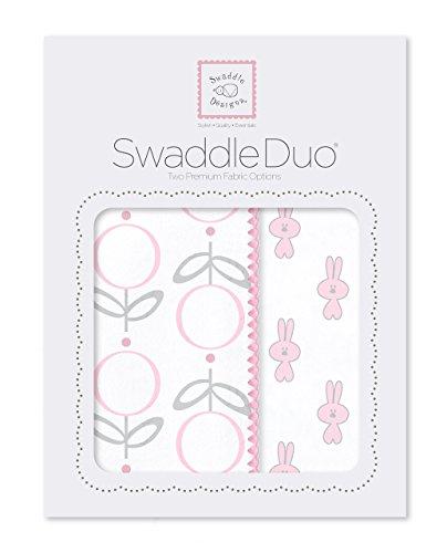 SwaddleDesigns Mousseline d'emmaillotage couvertures/Premium Flanelle de coton Rose Little Catherine Lansfield, Lot de 2