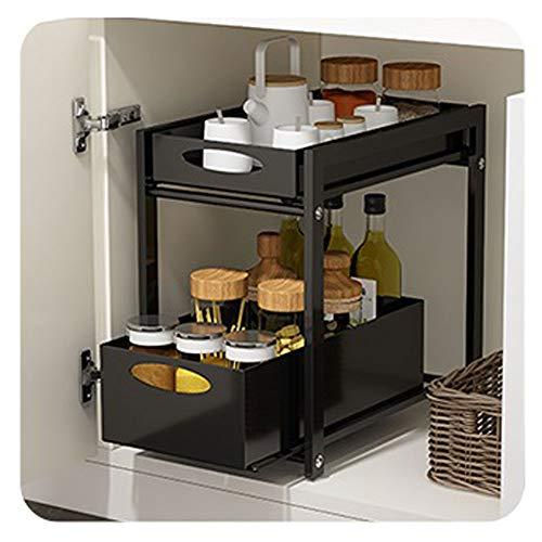 Sous-meuble de lavabo empilable,organiseur avec panier tiroir coulissant,pour cuisine et salle de bains,Noir,blanc,38.3*24.8*40cm ,grand espace double couche,organisé et organisé-parfait pour vous