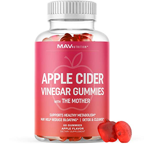 Apple Cider Vinegar Gummies with Vitamin B6, B12 & Folic Acid | Detox Cleanse, Weight Loss, Energy Boost & Immunity Dietary Supplement | 60 ACV Gummies with The Mother