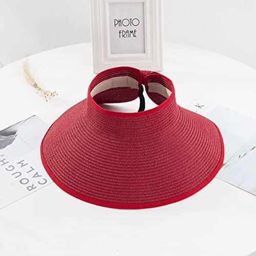 Women Summer Visors Hat Foldable Sun Hats Wide Large Brim Beach Hats Straw Hat femme Beach UV Protection Cap-RD