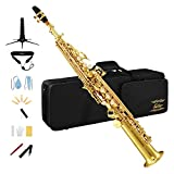 Eastar Bb Soprano Saxophone Straight Sax SS-Ⅱ Gold B Flat Students Beginners with Carrying Case Mouthpiece Straps Gloves Reeds Stand Cork Grease Cleaning Cloth & Brush