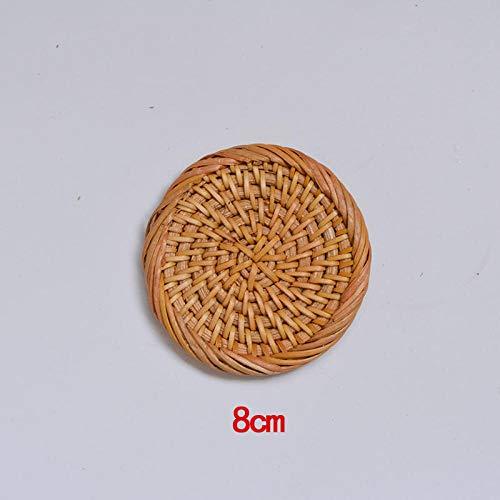 Yanxinenjoy Rattan, gewebte Isoliermatte für Tischplatte, runde Glasuntersetzer, Bed & Breakfast Bowl Matte-8 cm Dicke Kante