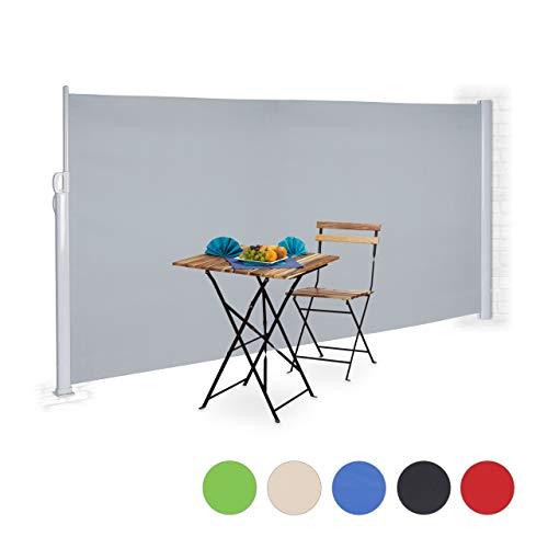Relaxdays Seitenmarkise ausziehbar, Rollo für Balkon, Garten, Wand, UV-beständiger Sichtschutz HxB: 180 x 300 cm, grau