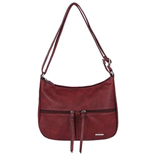 David Jones - Damen Multi Pocket Umhängetasche - Schultertasche Viele Taschen PU Leder - Messenger Crossbody City Bag - Elegante Frauen Schulterbeutel - Medium Tasche - Bordeaux Rot