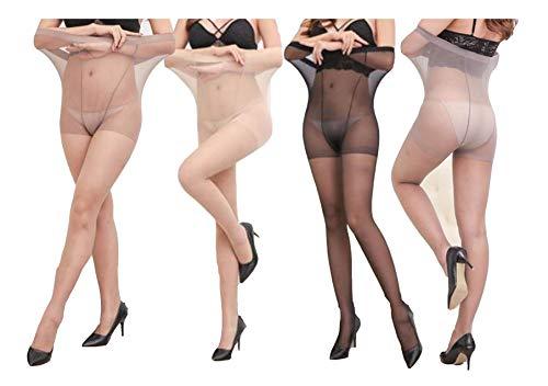 Yulaixuan para mujer 4 pares de medias de talla grande 15 medias de denier control superior medias transparentes leggings reforzados de longitud completa (talla grande desnudo/negro/café/gris)