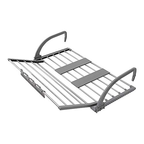 Tendedero para balcón Extensible Gris Percha para barandilla de balcón Tendedero Plegable Acero Inoxidable + Material ABS con Clip para Calcetines Almacenamiento y Almacenamiento de Secado Todo en u
