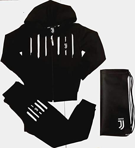 Completo Felpa + Pantaloni Tuta Bambino Ragazzo Juventus FC Juve Prodotto Ufficiale (Nero) + Omaggio Zainetto Porta Tuta (8 Anni)