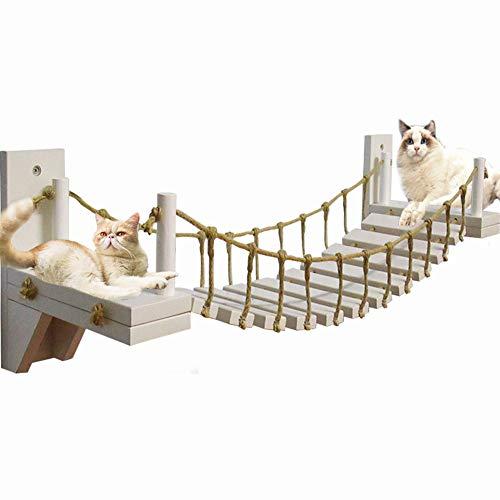 Umoraキャットタワー 木製 吊り橋 猫ベッド 遊び場 ハンモック ストレス解消 運動不足解消(120cm)