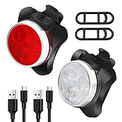 RIDEIWAKE Bike Lights Front and Back Rechargeable Bright Bicycle Light Set, Professional Bike Accessories for Mountain Bike Dirt Bike Fixed Gear Bike, 4 Light Mode Options (2PCS)