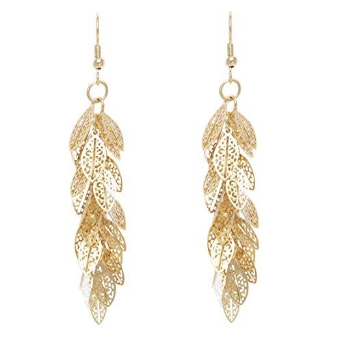 Bonaluna Women's Bohemian Dangle Drop Long Earrings Gold