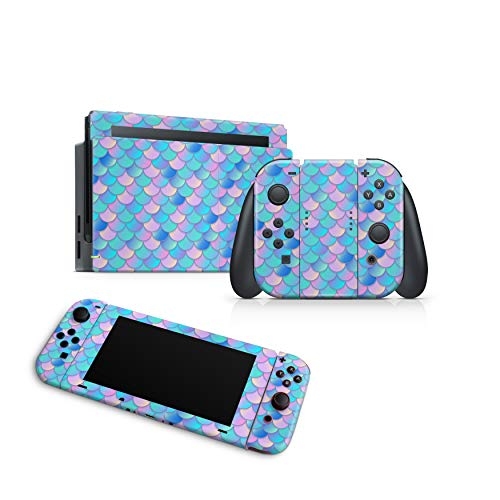 ZOOMHITSKINS Mermaid Scales Fish Gloss Pale Color Pink Baby Blue Pastel Ocean Water, High Quality Decal Sticker Wrap, Nintendo Switch Compatible, Made in the USA