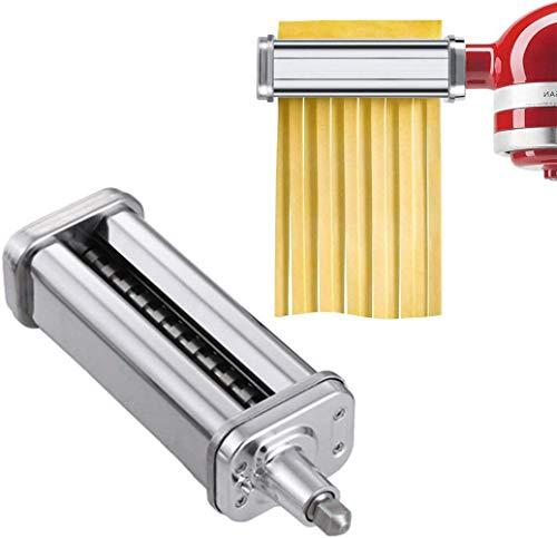 Accessori per taglia fettuccine per macchina per pasta per robot da cucina KitchenAid, rullo in acciaio inossidabile,accessori per tagliapasta per fettuccine,macchina per pasta con spazzola di pulizia