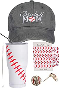 Baseball Gifts EXCLUSIVE PACK OF 4 – This appealing Baseball Mom gifts package comes with a beautiful Baseball mom cap, a flat-bottomed baseball tumbler, a charming set of baseball ponytail ties for woman and a baseball earring. All in One package fo...