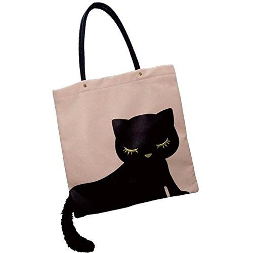 Osumashi Pooh Chan Schwarze Katze Pooh Chan Flache Große Einkaufstasche mit Katze Schwanz Rosa P11096