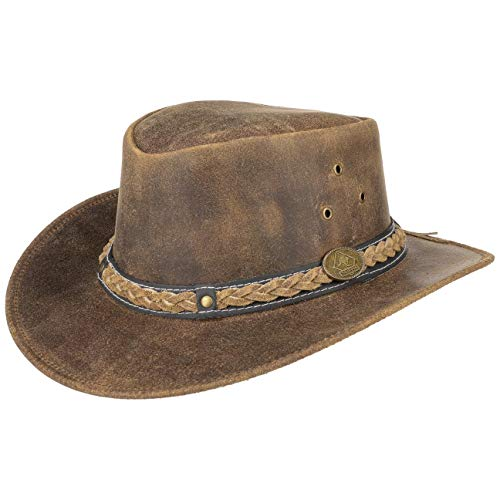 Scippis Williams Cappello Australiano di Pelle | Cow Boys Hat | Look Invecchiato | Estate/Inverno (Marrone, L/59-60cm)
