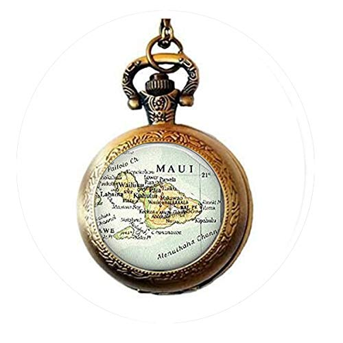 bab Husband Gift, Maui Hawaii Ornament gift, Christmas Ornament, hawaii map charm ornament Pocket Watch Necklace -Bible Quote Pendant -Religious Pocket Watch Necklace