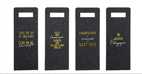 4 Flaschentüten Champagner aus Filz mit Spruch 41 x 16 cm Grau Geschenktasche