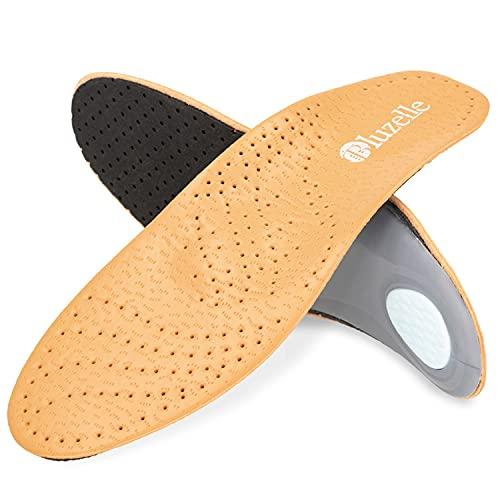 bluzelle Einlegesohlen aus Echt Leder mit Bogenstütze, Atmungsaktive Komfort Schuh Einlage, Fuß Bett zur Entlastung Schonung Kräftigung, Größe:43/44