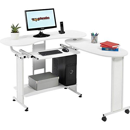 Piranha Ausklappbarer Computertisch mit Tastaturauszug in weiß PC 3s